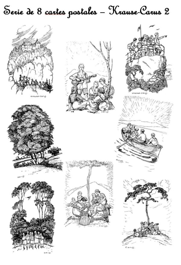 Série de 9 cartes postales – « Wandervogel 04 » – Krause Carus 2
